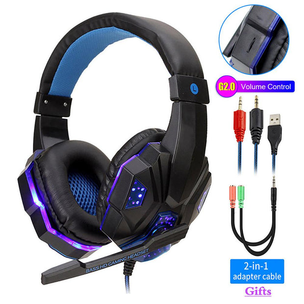 LED Light Gamer Headset for Computer/PS5/XBOX