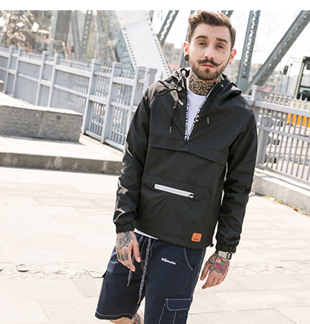 YET12 - Techwear Jacket With Middle Zipper - Ninjadark
