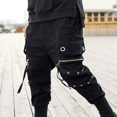 Urban Soldier X Ninja I - Multi Pocket Techwear Tapered Cargo Pants With Zippers - Ninjadark
