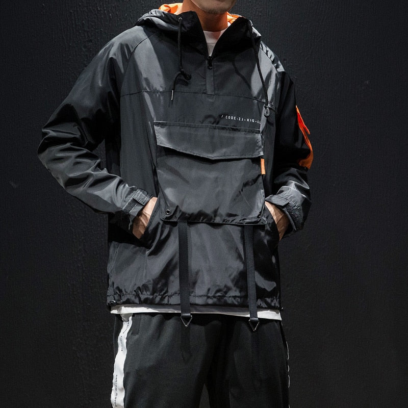 544cd1bc2 Record Breaker X Ninja II - Orange & Black Techwear Jacket Windbreaker