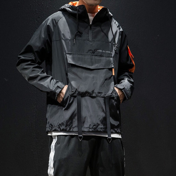Record Breaker X Ninja II - Orange & Black Techwear Jacket Windbreaker - Ninjadark