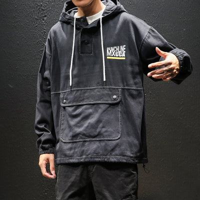 Big Front Pocket Black Hoodie - Ninjadark