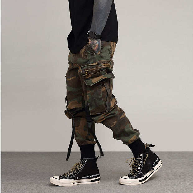 Street Commander III - Low Knee Hanging Strap Techwear Cargo Pants