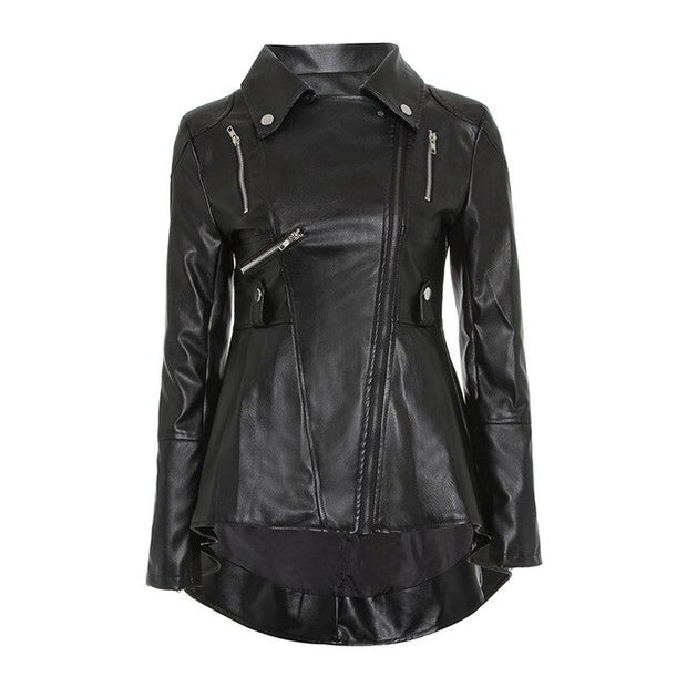 Sisjuly Black PU Leather Motorcycle Jacket Women Top Fashion Hot Sale Outerwear Zipper Cool Slim Fitness Female Goth Casual Coat - Ninjadark