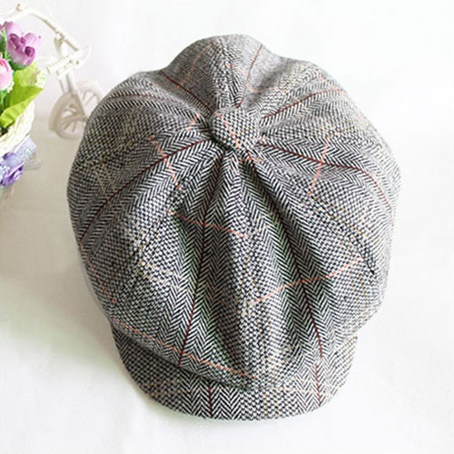 Herringbone tweed newsboy cap