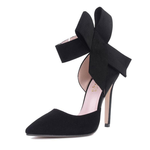Big bow pointed toe high heels sandals shoes for woman's