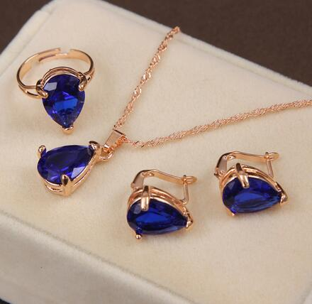 African bridal gold color necklace earrings Ring jewellery set for women's