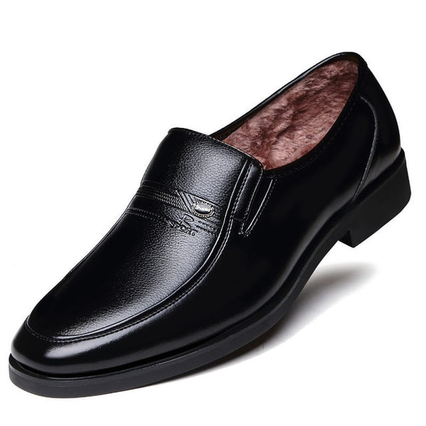 Winter Warm With Velvet Male Leather Shoes Men Dress Shoes Business Classic Square Toe Leather Shoes Men Formal Footwear Slip-On
