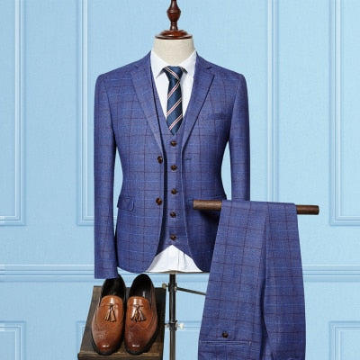 Slim Fit business (Jacket+Vest+Pants)  men Wedding suit