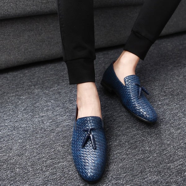 Oxfords Zapatos Hombre Weaving Leather Shoes