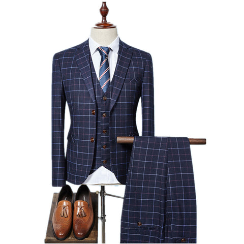 Single Breasted plaid casual suit for men