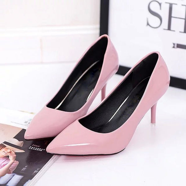 Pointed Toe Pumps Patent Leather Dress Shoes for women's