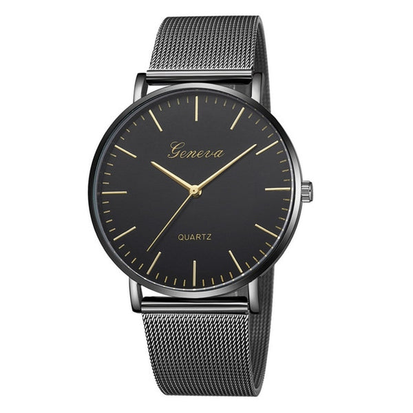 Mesh Stainless Steel Watchband Casual Wristwatch