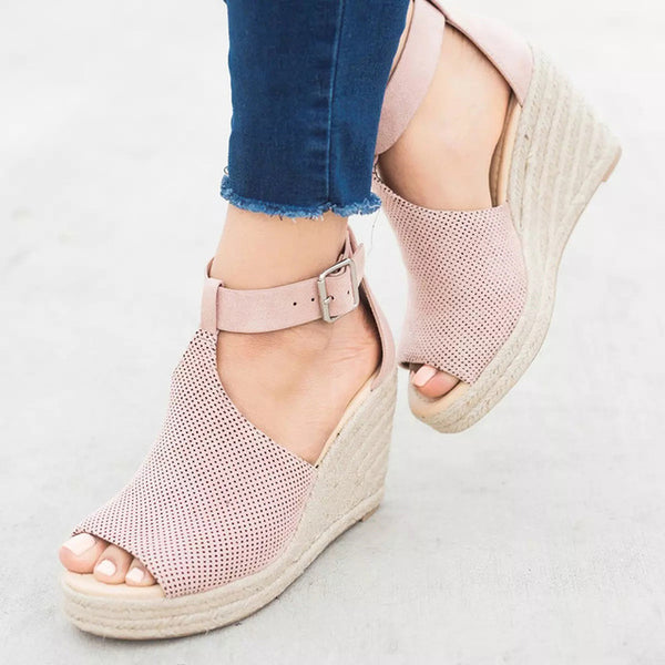 Wedge Peep Toe Ladies Shoes