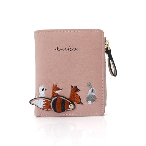 Short Embroidery Animal Pattern Women Wallets