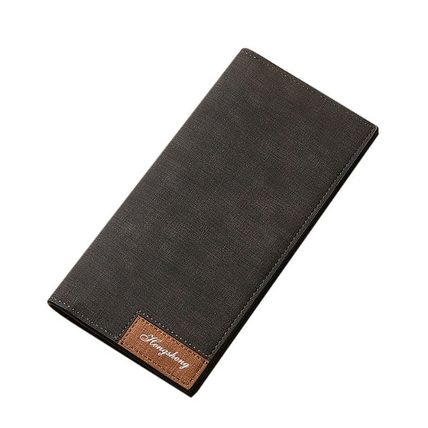 Slim Pu Leather  Bifold Business Long Wallet