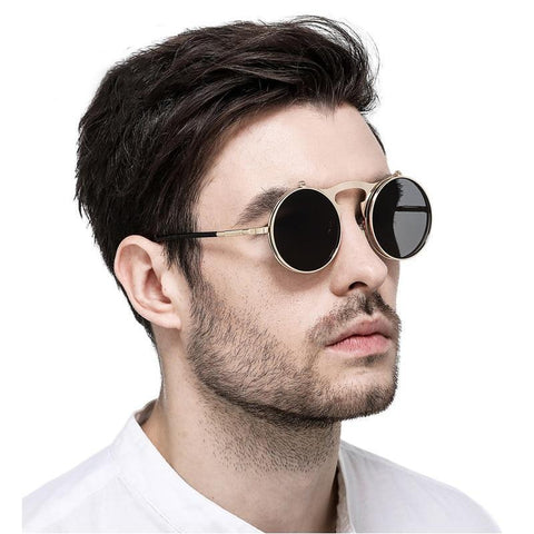 Vintage Steampunk Flip Up Men Sunglasses