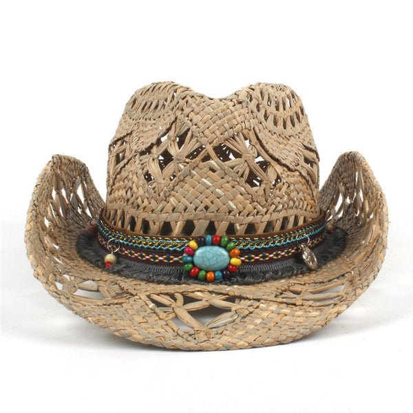 100% Natural Straw Cowboy Hat for Women Men