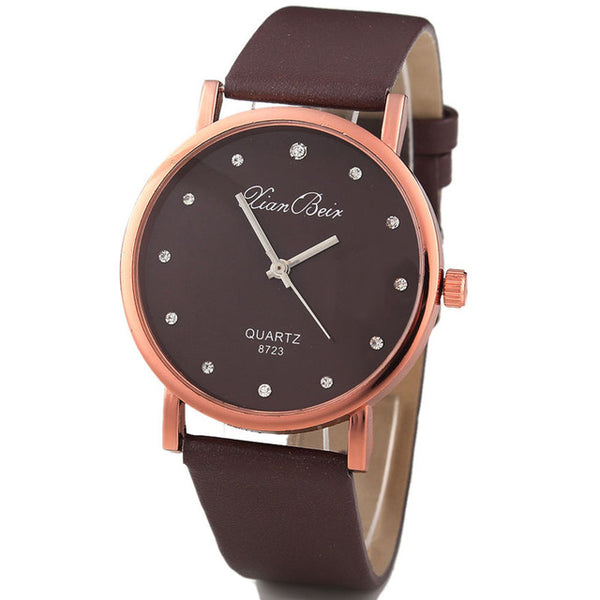 Leatheroid Band Round Dial Quartz Wrist Watch for women's