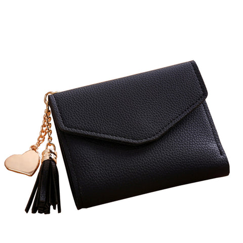 Women Simple Short Tassel Coin Purse Wallet