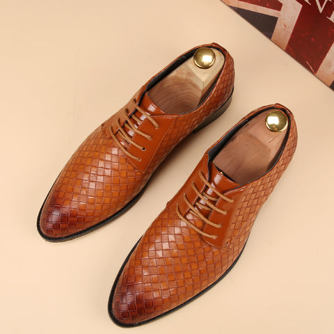 Flats braided leather oxford shoes for men