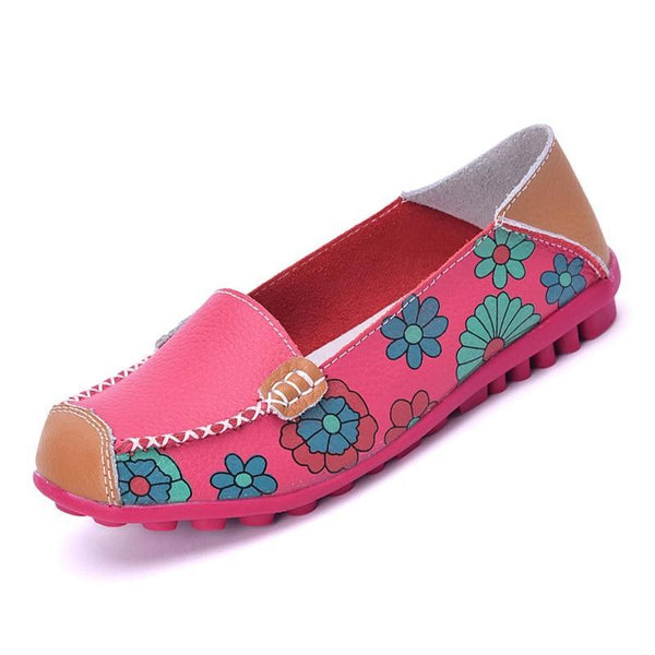 Cow Muscle Ballet Summer Flower Print Women Leather Shoes