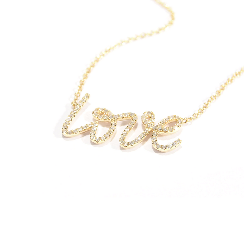 Love Necklaces. Yellow Gold and round Brilliant diamonds. Cursive Love Necklace. Made for Love Jewelry Boca Raton FL