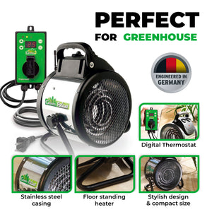 Palma Greenhouse Heater 110 V, incl. Digital Summer / Winter Thermostat