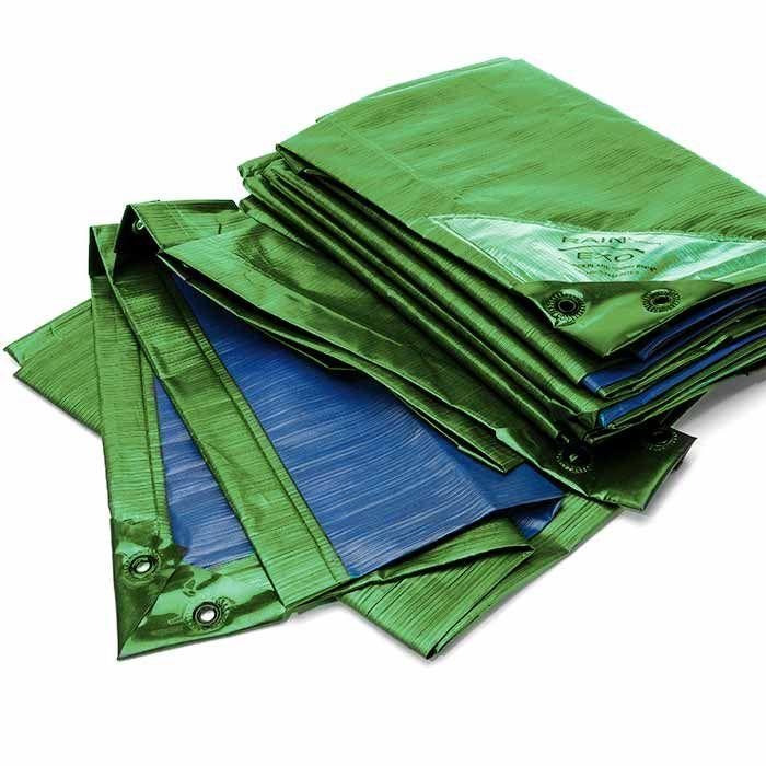 "Rainexo 150 GSM Tarp ""HEAVY DUTY"" Green/Blue, Waterproof, UV-resistant, Frostproof"