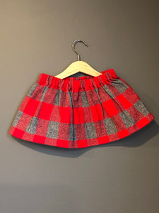 Plaid Red & Grey Toddler Skirt