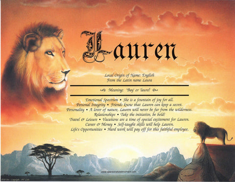 Lion | KreADiv Gifts | Personalized First Name Meaning Artwork Gift