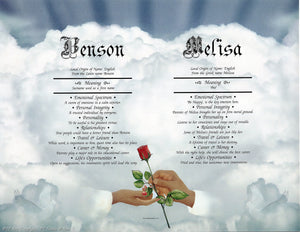 Hands & Rose II | KreADiv Gifts | Personalized First Name Meaning Artwork Gift