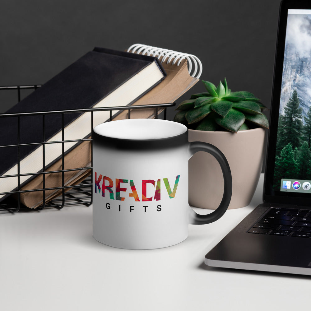 KreADiv Gifts Matte Black Magic Mug | KreADiv Gifts | Personalized First Name Meaning Artwork Gift