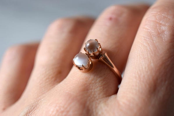 Antique 18K Moonstone Bypass Ring