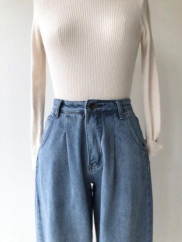 Pleated Denim Trousers