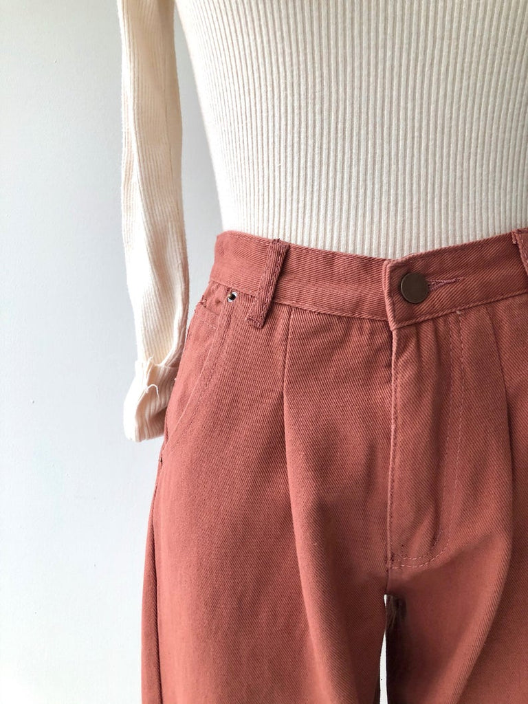 Rose denim trousers