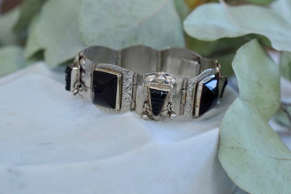 Vintage 1950s Mexican Silver & Onyx Bracelet