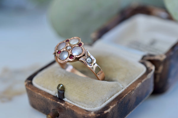 Antique Victorian 10K Quatrefoil Ruby & Pearl Ring