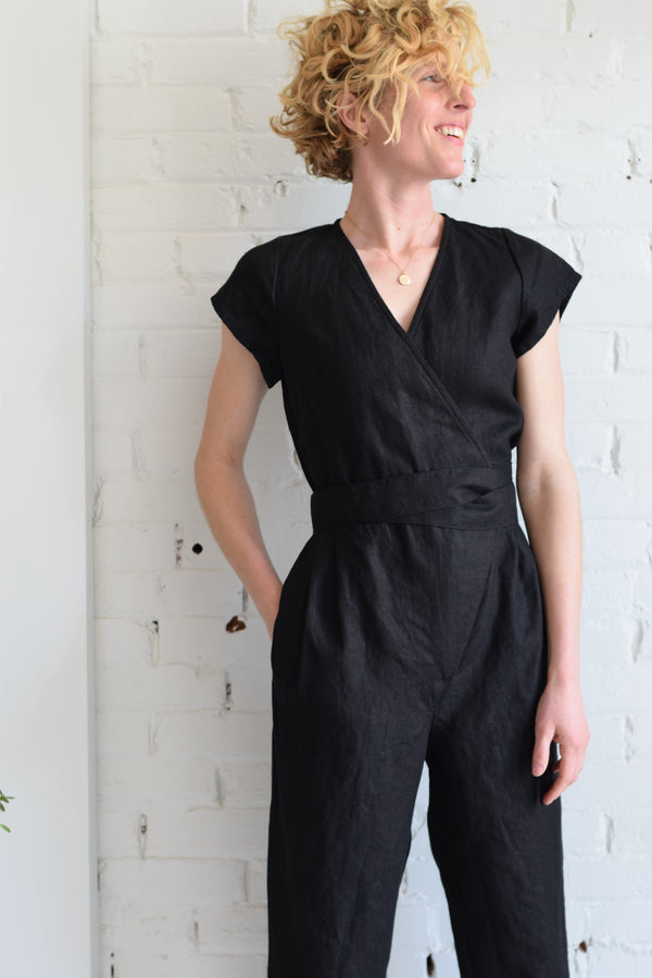Linen Wrap Jumpsuit | Coal Black