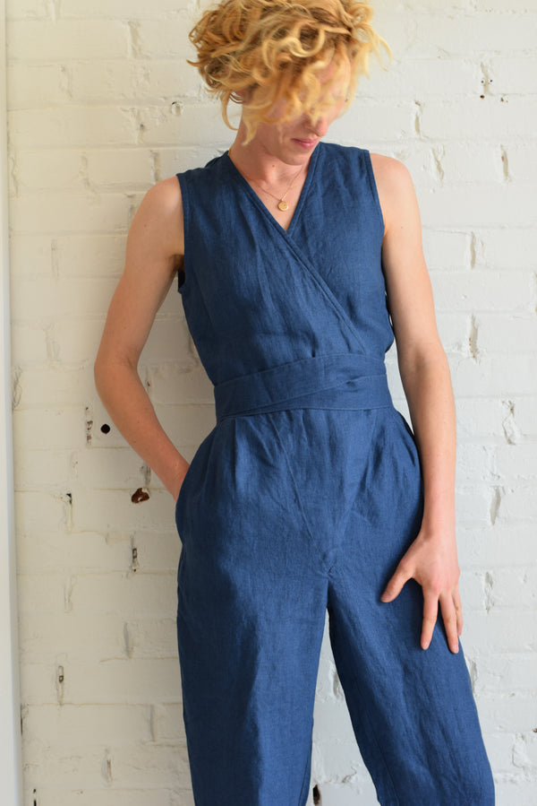 Linen Wrap Jumpsuit | Atlantic Blue