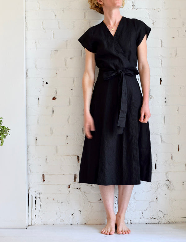 Linen Wrap Dress | Coal