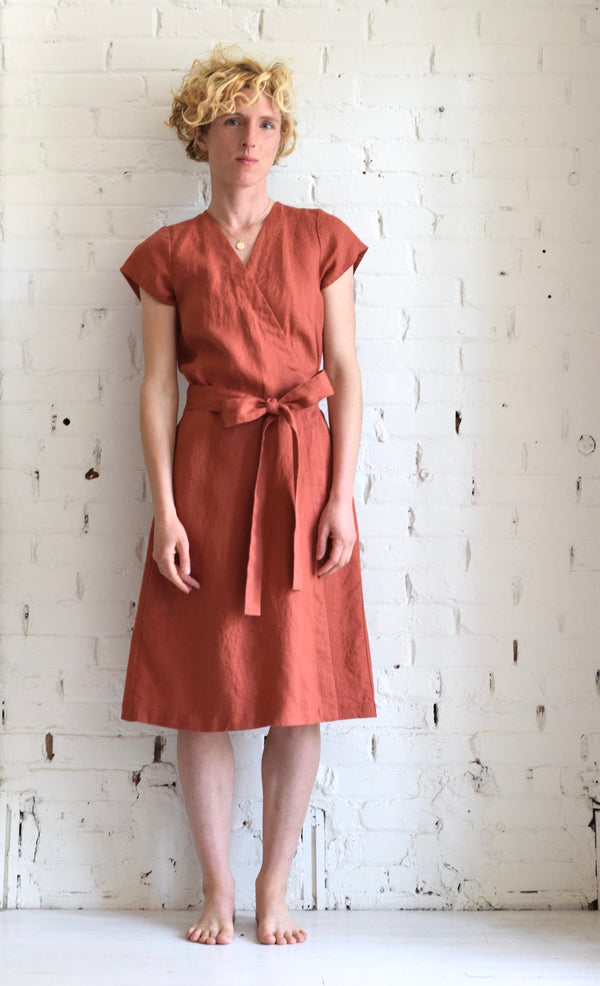 Linen Wrap Dress | Moroccan Red