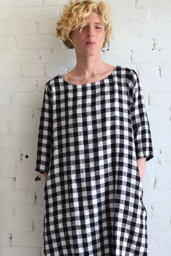 Gingham Linen Tunic Dress