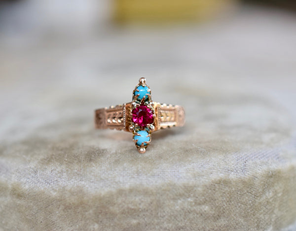 Antique Victorian 14K Gold Ruby & Turquoise Ring