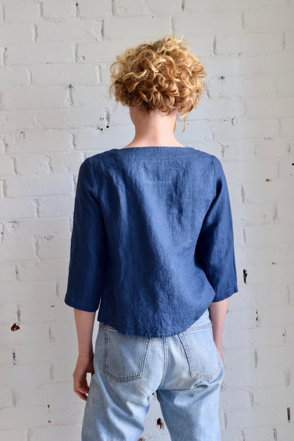 Davos Linen Blouse | Atlantic Blue