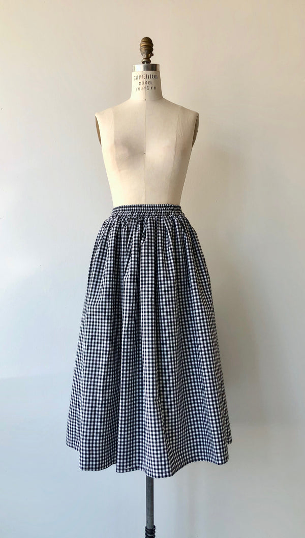 B&W Gingham Cotton Skirt