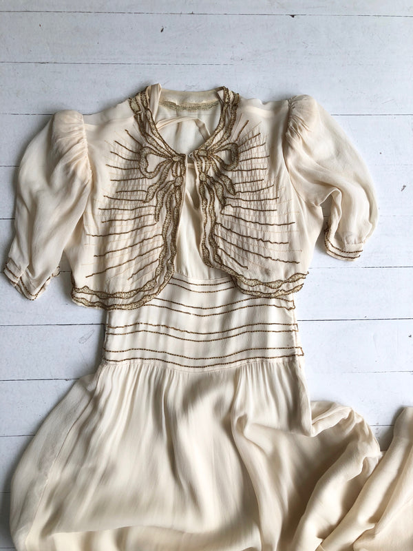 Gilded Bow Silk Dress & Jacket