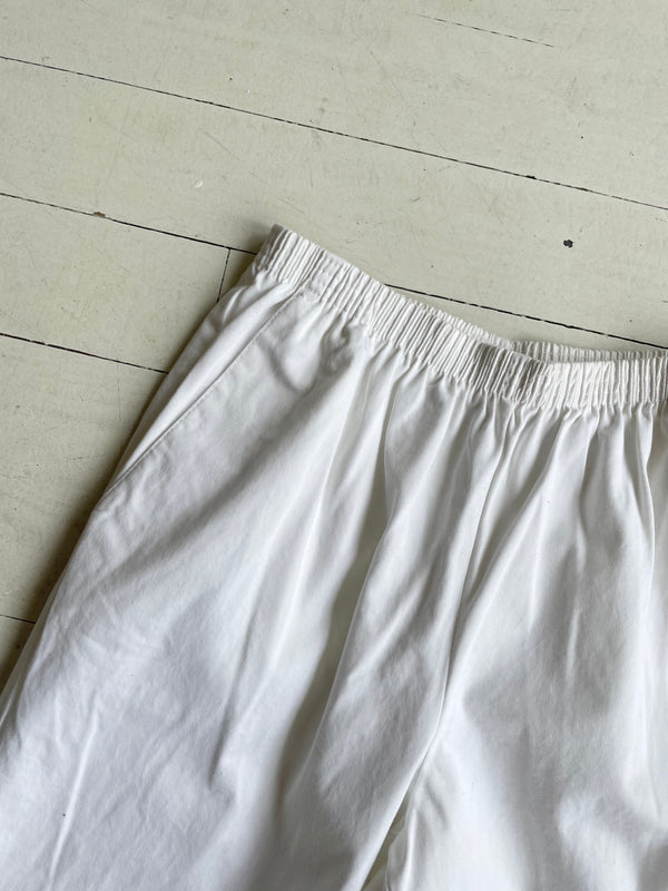 Chalk Cropped Cotton Trousers