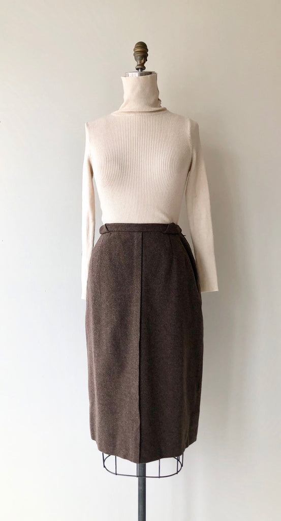 Walnut Wool 1950s Skirt