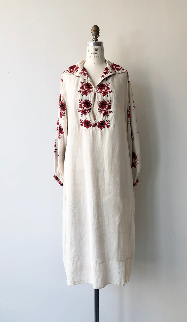 Antique Folk Embroidered Chemise Dress